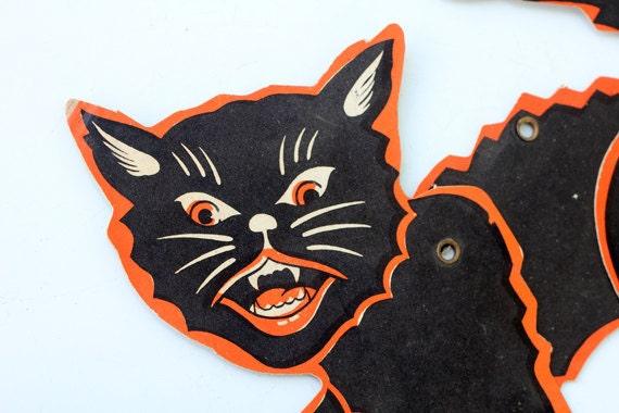 Vintage Halloween Black Cat Decoration