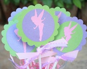 Whimsical Silhouette Tinkerbell Fairy Themed Cupcake Topper - Perfect for Birthday Parties, Bridal Showers, Baby Showers