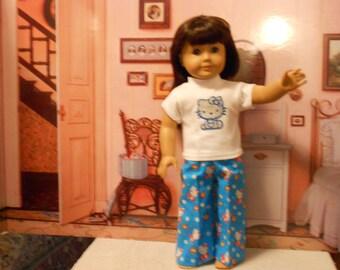 "Aqua Hello Kitty pajamas fit 18"" doll American girl"