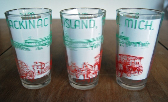Vintage Mackinac Island, Michigan Glasses- Set of 3