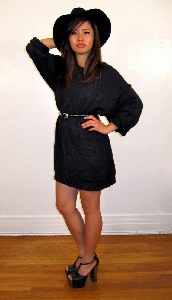Perfect Womens Ladies Black Tunic Fleece Knit Loose Bodycon Long Jumper Dress