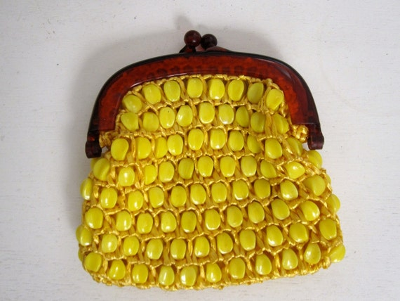 Yellow Bead and Crocheted Straw Coin Purse