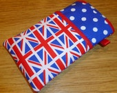 "iPhone 3/4/4S iPod HTC Desire Cell Phone Cover Handmade in England ""2012"" Diamond Jubilee Union Flag/Jack Olympic Fabric"