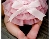 Ruffled baby bloomers diaper covers with oversize bow in vintage glamour style