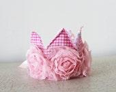 Baby crown pink baby girl princess crown headband photo prop vintage style wedding