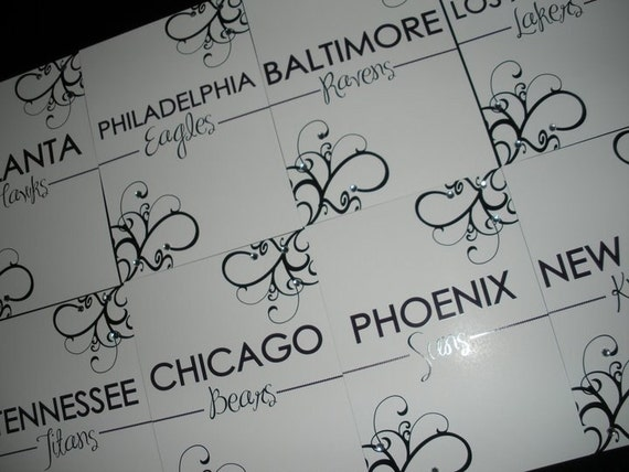 Table Numbers featuring Sports Team Names - Digital File