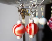Earrings Acrylic Candy Striped Red Marshmallow White