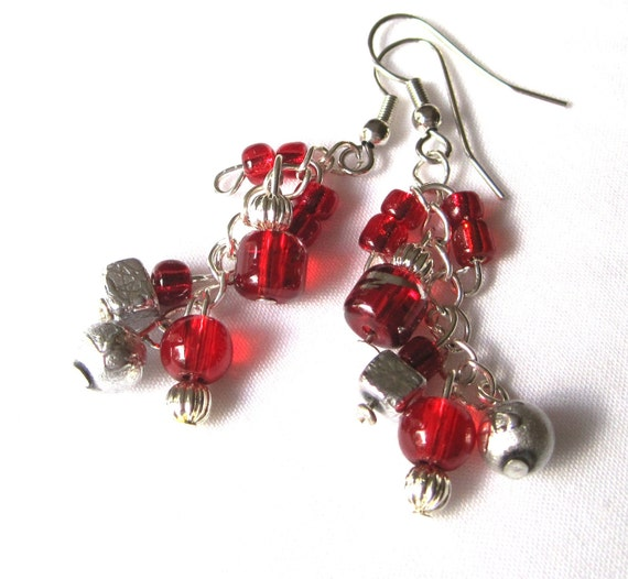 Red Glass Earrings, Silver and Red, Bright Silver Beads, Cluster Earrings, Dangle Earrings, Silver Chain Earrings
