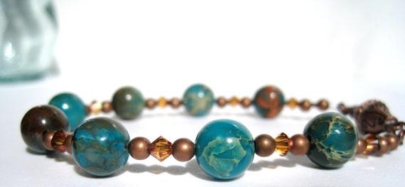 Beaded Bracelet Aqua Terra Jasper Blue Cerulean Copper Swarovski