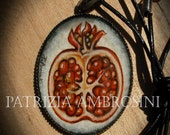 Handpainted watercolour ....Pomegranate....original painting necklace.... Vintage Style Frame ......