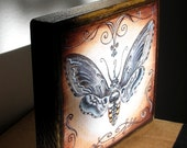 PRINT art block on wood - moth- giclee print mounted on wood art block-collectible-art wall print-reproduction-