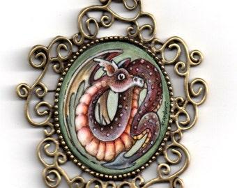 DRAGO..original painting necklace.... Handpainted Vintage Style Frame .FANTASY....