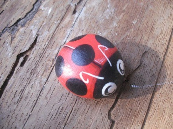 Ladybug     Painted rock  Handpainted stone    Miniature   Collectible   Rock art