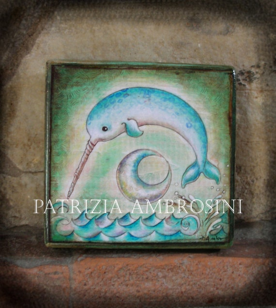 PRINT art block on wood - narwhale- giclee print mounted on wood art block-collectible-art wall print-reproduction-
