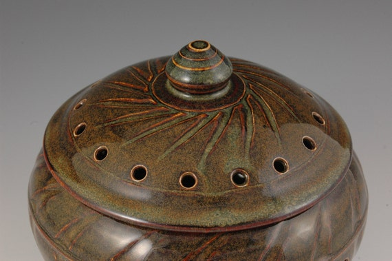 Brown / Green and reddish Tones - Stoneware Lidded Garlic Keeper