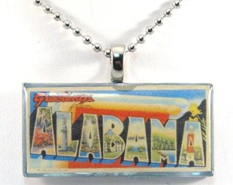 Vintage Large Letter Postcard Pendant Necklace - Greetings from Alabama