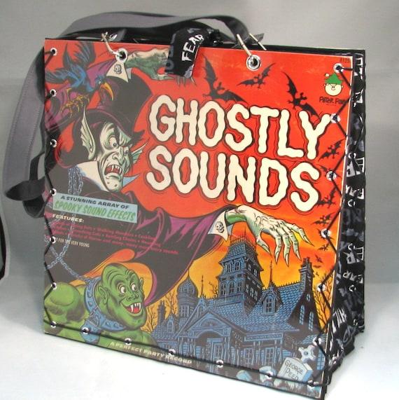 Ghostly Sounds Vintage Record Album Handbag Tote Purse