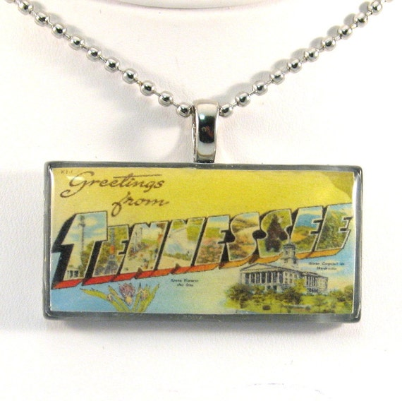 Vintage Large Letter Postcard Pendant Necklace - Greetings from Tennessee