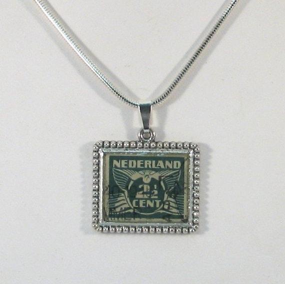Vintage Nederland 2 1/2 Cent Postage Stamp Necklace