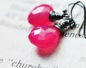 Bright Fuchsia Pink Chalcedony Oxidized Sterling Silver Earrings - Crime of Passion