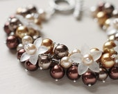Autumn Wedding Bridal Jewelry Pearl Cluster Bracelet - Copper Blooms