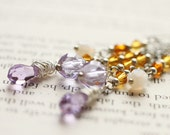 Light Purple Yellow Crystal Long Chain Wire Wrapped Earrings - Enchanted