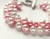 Light Pastel Pink Color Bridesmaids Jewelry Pearl Cluster Bracelet - Sweet Dreams