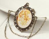 Fall Autumn Golden Yellow Leaves Vintage Art Pendant Necklace v3.0