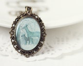 Winter Woodland Deer Vintage Art Pendant Necklace - Silhouettes in the Forest