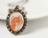 Cute Kitten Cat Vintage Art Pendant Necklace - Little Orange Kitty