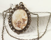 Brown Rustic Nature Vintage Art Pendant Necklace - Roots
