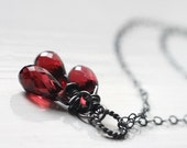 Red Garnet Gemstone Cluster Necklace, January Birthstone - Blossoms of Red