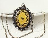 Capricorn Zodiac Astrology Pendant Necklace, Mustard Yellow Hand Drawn Art Original Painting