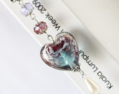 Purple Blue Lampwork Glass Bead Metal Hook Bookmark - The Storm in the Heart