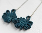 Dark Teal Blue Green Chinese Oriental Button Lace Antique Brass Necklace, Cheongsam Button Nautical Asian Wedding
