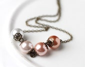 Peach Wedding Ombre Necklace, Large Pearls Simple Design for Bridesmaid Peach Pink to White Antique Bronze
