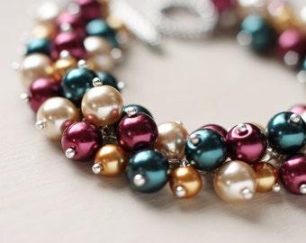 Pearl Cluster Bracelet - Vintage Garden
