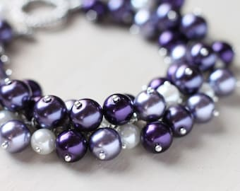 Purple Wedding Bridesmaid Jewelry Pearl Cluster Bracelet - Plum