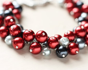Red and Black Bridesmaid Jewelry Wedding Pearl Cluster Bracelet - Black Cherry