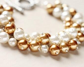 Bridesmaid Wedding Jewelry Gold Pearl Cluster Bracelet - Golden Dreams