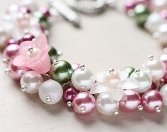 Spring Wedding Bridesmaid Jewelry Pearl Cluster Bracelet - Spring Flowers