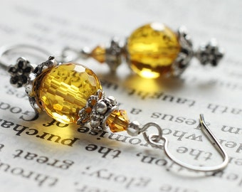 Yellow Citrine Colored Glass Earrings - Colors Of The Sun