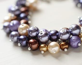 Bridesmaid Jewelry Pearl Cluster Bracelet - Lavender Buds