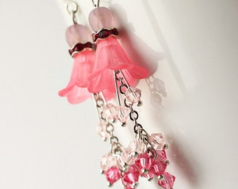 Pink Bridesmaid Jewelry Flower Earrings - Angels Tear
