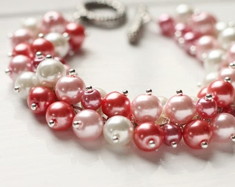 Light Pink Color Bridesmaids Jewelry Pearl Cluster Bracelet - Cotton Candy