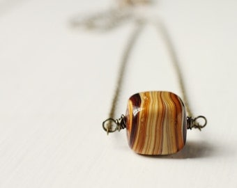 Brown Lampwork Glass Handmade Antique Brass Necklace - Toffee Candy Lines