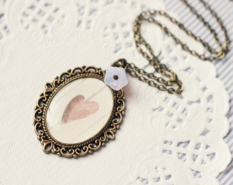 Valentines Vintage Art Pendant Necklace - Hollow Heart