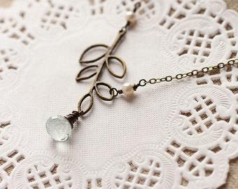 Antique Bronze Leaf Necklace, Pale Green Quartz Wire Wrapped - The Dew Drop