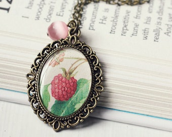 Raspberry Vintage Art Pendant Necklace