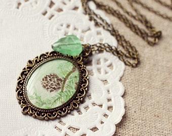 Pine Cone Vintage Art Pendant Necklace